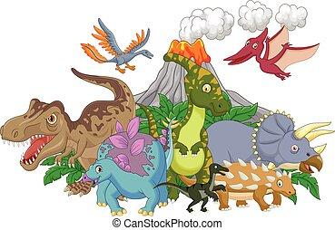 dinosaure, caractère, dessin animé