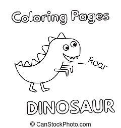 dinosaure, coloration, dessin animé, livre