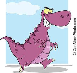 dinosaure, courant, caractère, dessin animé