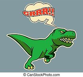 dinosaure, courant, retro