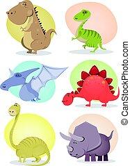 dinosaure, dessin animé, collection