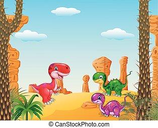 dinosaure, dessin animé, collection, heureux