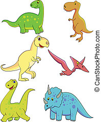 dinosaure, dessin animé, collection