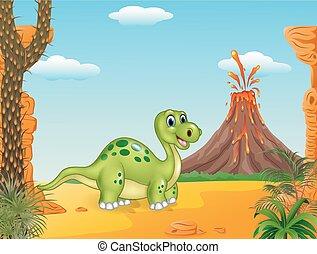 dinosaure, dessin animé, heureux