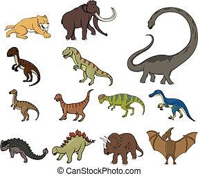 dinosaure, dessin animé, illustration, desig