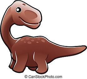 dinosaure, diplodocus, illustration, mignon