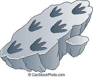 dinosaure, encombrements, rocher
