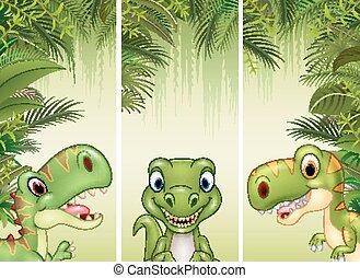 dinosaure, ensemble, trois, dessin animé