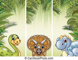 dinosaure, ensemble, trois, fond