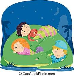 dinosaure, gosses, stickman, dormir