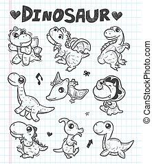 dinosaure, griffonnage, icônes