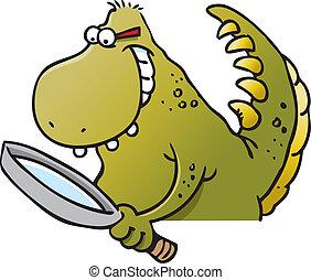 dinosaure, magnifier, tenant verre