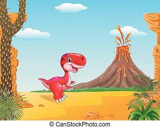dinosaure, mascotte, mignon