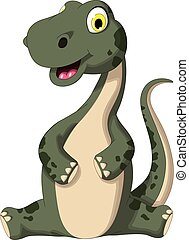 dinosaure, mignon, dessin animé, séance