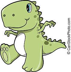 dinosaure, mignon, vecteur, vert, t-rex