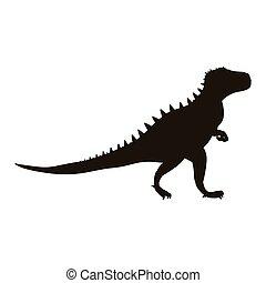 dinosaure, monochrome, silhouette, tyrannosaurus