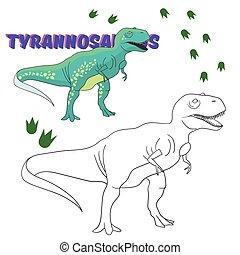 dinosaure, pédagogique, livre, jeu, coloration