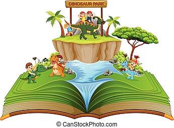 dinosaure, parc, enfants, livre contes, rivière verte, jouer