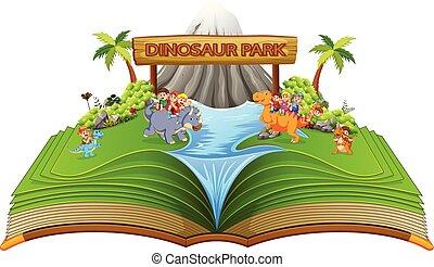 dinosaure, parc, il, livre contes, vert, enfants