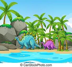 dinosaure, plage, suivant