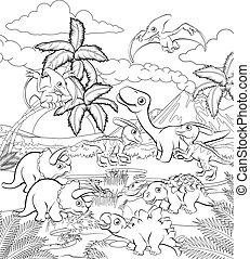 dinosaure, préhistorique, dessin animé, paysage, scène