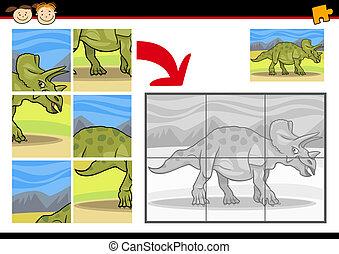 dinosaure, puzzle, puzzle, jeu, dessin animé