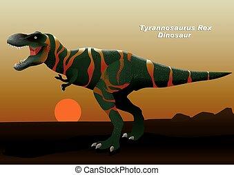 dinosaure, rex, coucher soleil, marche, tyrannosaurus