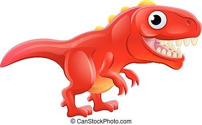 dinosaure, rex, t, dessin animé, mignon