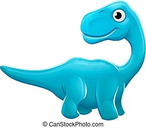 dinosaure, sauropod, dessin animé, mignon