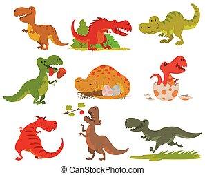 dinosaure, set., vecteur, t-rex