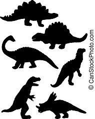 dinosaure, silhouette