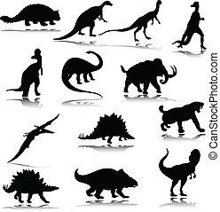 dinosaure, silhouettes, illustration