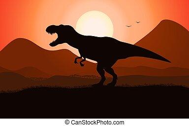 dinosaure, t-rex, silhouette, tyrannosaurus