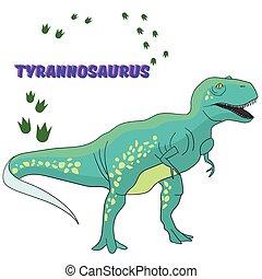 dinosaure, vecteur, dessin animé, illustration