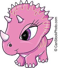dinosaure, vecteur, rose, mignon