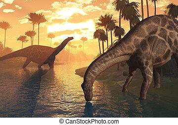 dinosaures, aube, -, temps