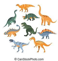 dinosaures, différent, ensemble, espèce