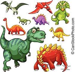 dinosaures, différent, espèce
