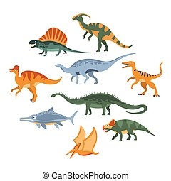 dinosaures, ensemble, période, jurassique