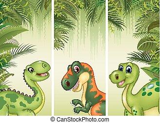 dinosaures, ensemble, trois, dessin animé
