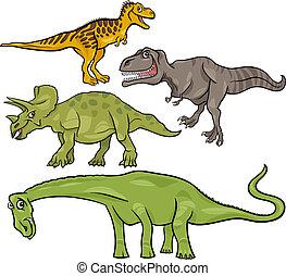 dinosaures, préhistorique, ensemble, dessin animé