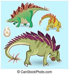 dinosaures, stegosaurus, autocollant, colle