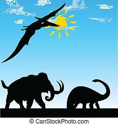 dinosaures, vecteur, silhouette, illustration