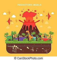 dinosauri, concetto, illustrazione