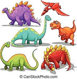 dinosauri, differente, tipo