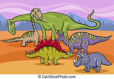 dinosauri, gruppo, cartone animato, illustrazione