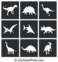 dinosauri, set, icone