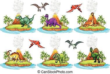 dinosauri, vivente, su, il, isola