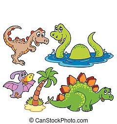 dinosaurie, olika, kollektion