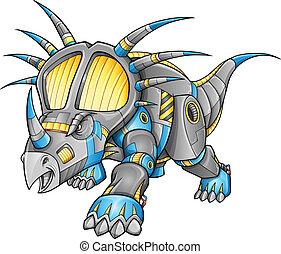 dinosaurie, robot, vektor, triceratops